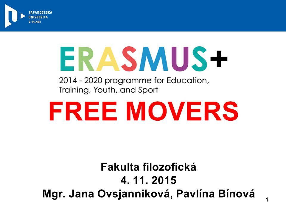 FREE MOVERS Fakulta filozofická 4. 11. 2015 Mgr. Jana Ovsjanniková, Pavlína Bínová 1