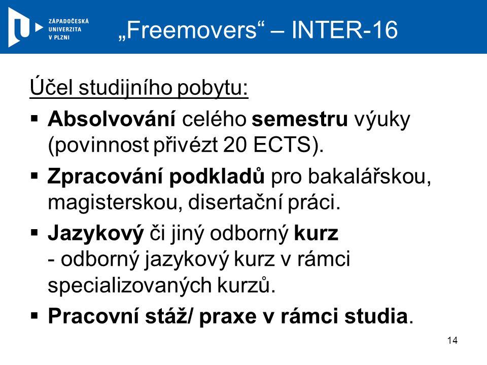 """""""Freemovers – INTER-16 Účel studijního pobytu:  Absolvování celého semestru výuky (povinnost přivézt 20 ECTS)."""