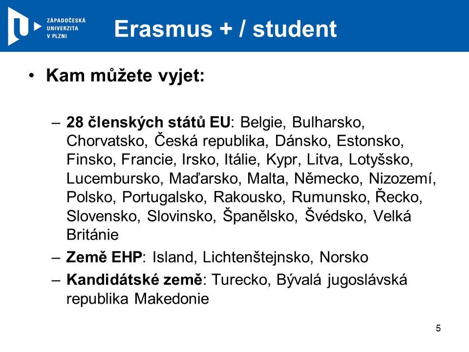 Erasmus + / student Kam můžete vyjet: –28 členských států EU: Belgie, Bulharsko, Chorvatsko, Česká republika, Dánsko, Estonsko, Finsko, Francie, Irsko