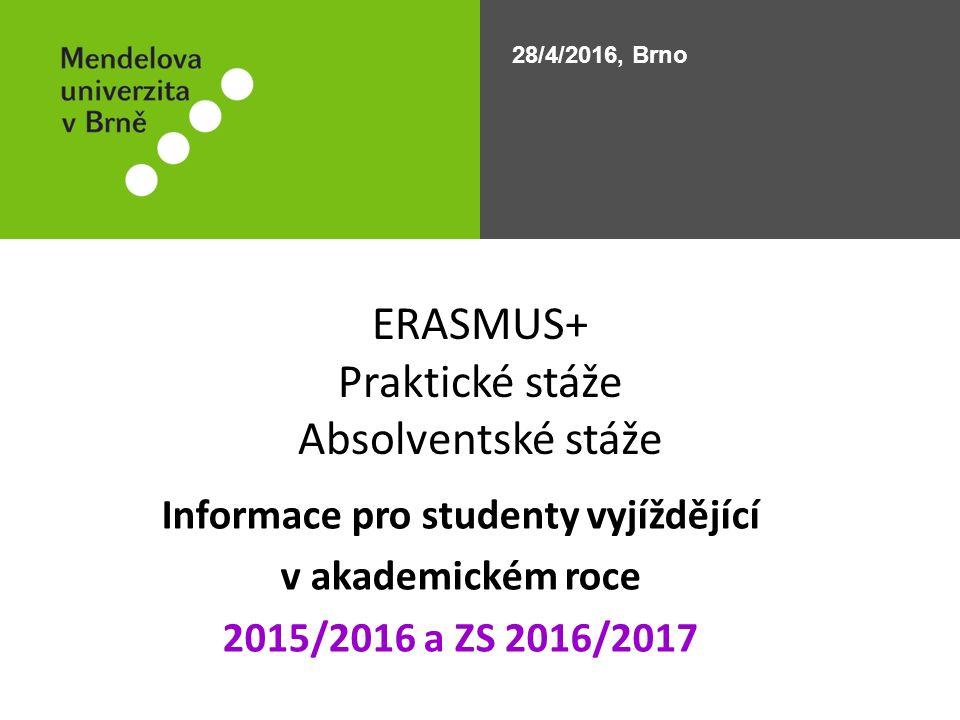 Finanční dohoda/Účastnická smlouva Nutno podepsat NEJPOZDĚJI 2 týdny před odjezdem Domluvit si termín podpisu emailem: bohdana.cechova@mendelu.cz vzor FD/ÚS je možné najít zde: http://zo.stud.mendelu.cz/cz/prakticka_staz/erasmus strana 32