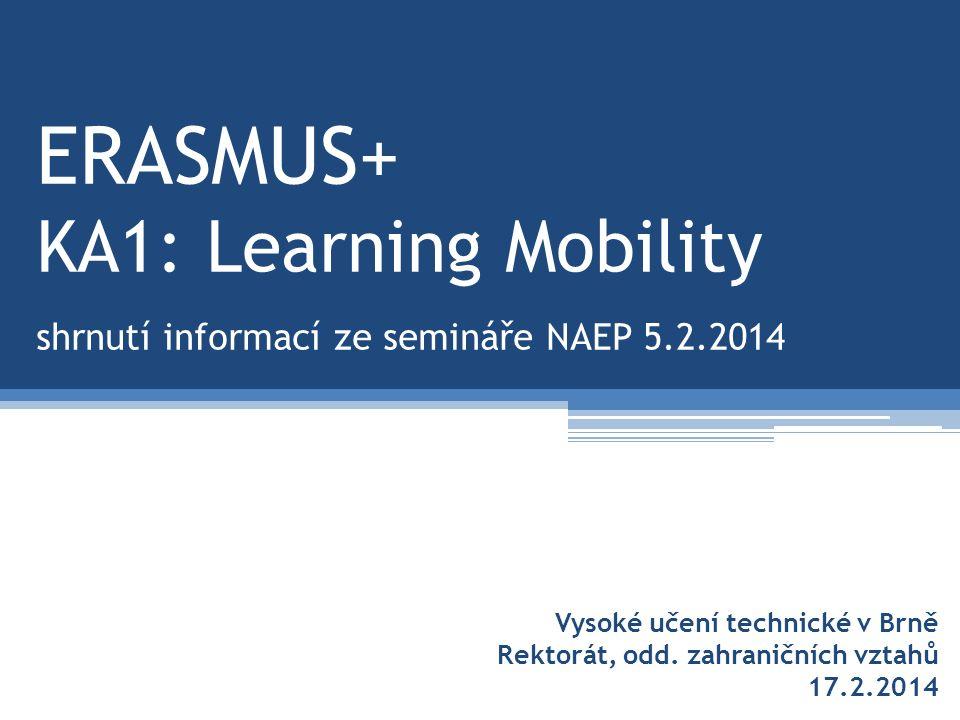 ERASMUS+ KA1: Learning Mobility shrnutí informací ze semináře NAEP 5.2.2014 Vysoké učení technické v Brně Rektorát, odd.