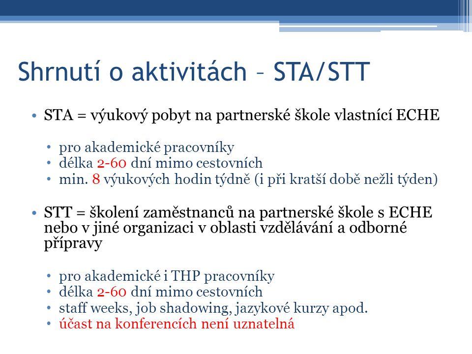 Shrnutí o aktivitách – STA/STT STA = výukový pobyt na partnerské škole vlastnící ECHE pro akademické pracovníky délka 2-60 dní mimo cestovních min.
