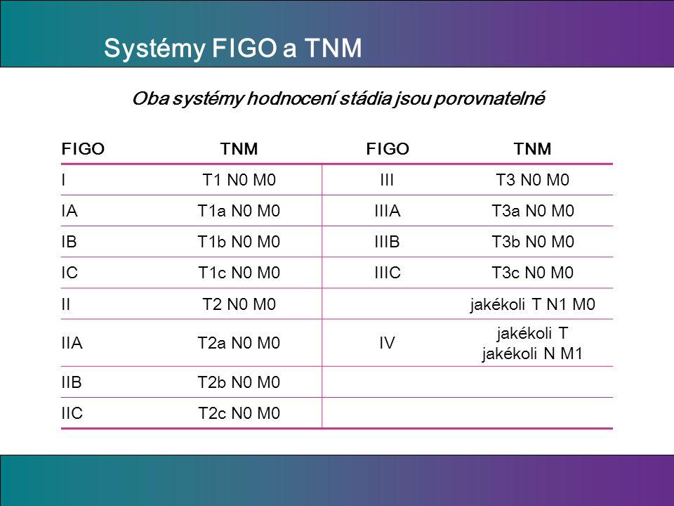 Systémy FIGO a TNM FIGOTNMFIGOTNM IT1 N0 M0IIIT3 N0 M0 IAT1a N0 M0IIIAT3a N0 M0 IBT1b N0 M0IIIBT3b N0 M0 ICT1c N0 M0IIICT3c N0 M0 IIT2 N0 M0jakékoli T N1 M0 IIAT2a N0 M0IV jakékoli T jakékoli N M1 IIBT2b N0 M0 IICT2c N0 M0 Oba systémy hodnocení stádia jsou porovnatelné