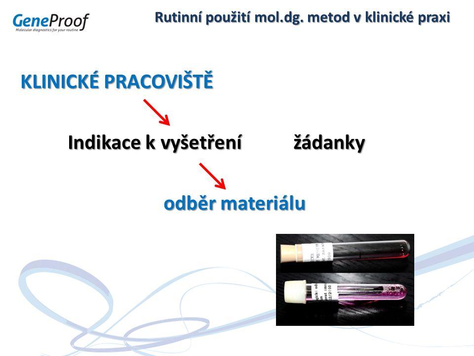 Rutinní použití mol.dg. metod v klinické praxi KLINICKÉ PRACOVIŠTĚ Indikace k vyšetření žádanky odběr materiálu odběr materiálu