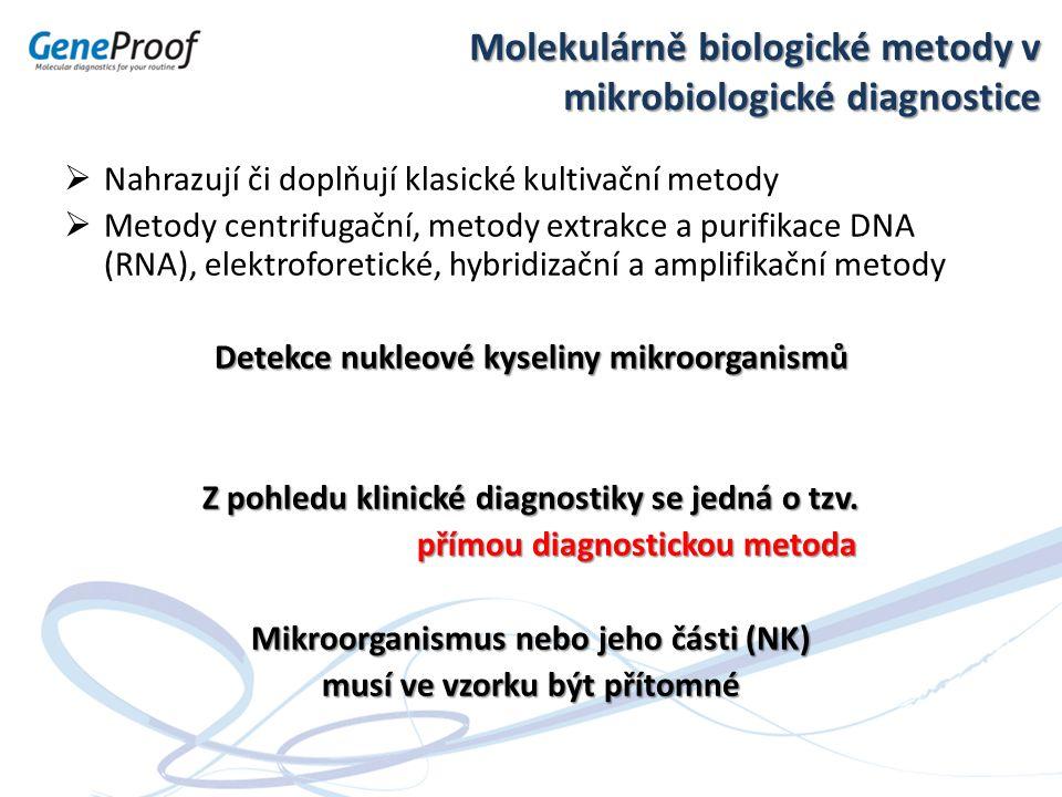 Molekulární mikrobiologická diagnostika – interpretace Teorie a praxe při dosažení maximální citlivosti stanovení Citlivost detekce konkrétní metody je zásadní parametr, jehož znalost je nezbytná pro správnou indikaci vyšetření i interpretaci výsledků.