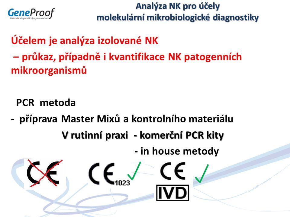 Analýza NK pro účely molekulární mikrobiologické diagnostiky Účelem je analýza izolované NK – průkaz, případně i kvantifikace NK patogenních mikroorganismů PCR metoda - příprava Master Mixů a kontrolního materiálu V rutinní praxi - komerční PCR kity - in house metody