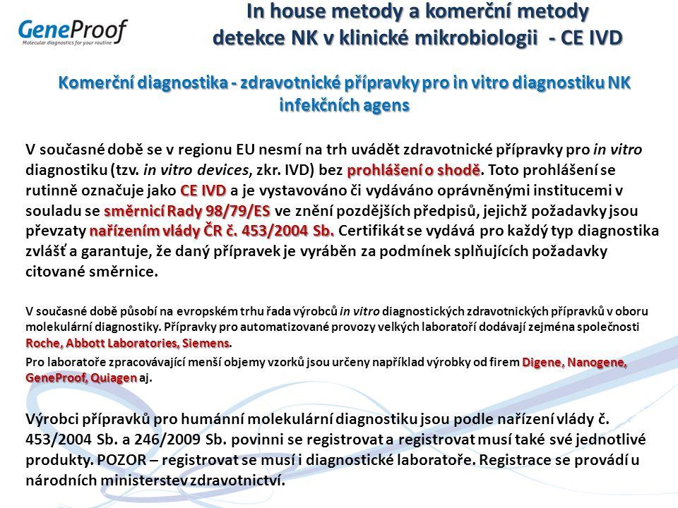 In house metody a komerční metody detekce NK v klinické mikrobiologii - CE IVD Komerční diagnostika - zdravotnické přípravky pro in vitro diagnostiku