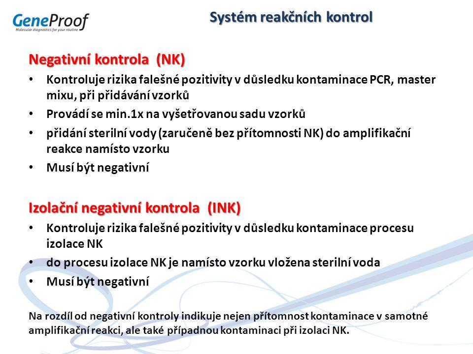 Negativní kontrola (NK) Kontroluje rizika falešné pozitivity v důsledku kontaminace PCR, master mixu, při přidávání vzorků Provádí se min.1x na vyšetř