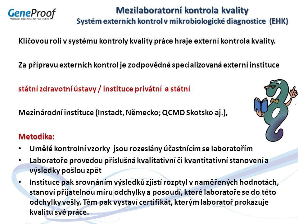 Mezilaboratorní kontrola kvality Systém externích kontrol v mikrobiologické diagnostice (EHK) Klíčovou roli v systému kontroly kvality práce hraje ext