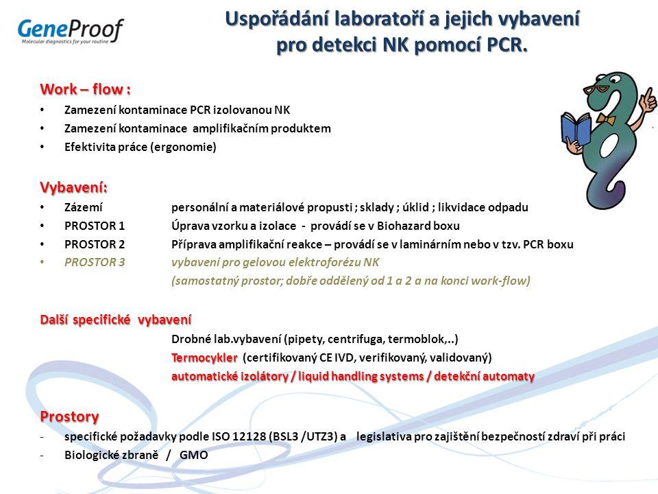 Uspořádání laboratoří a jejich vybavení pro detekci NK pomocí PCR. Work – flow : Zamezení kontaminace PCR izolovanou NK Zamezení kontaminace amplifika