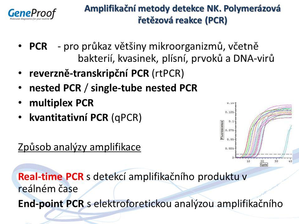 Amplifikační metody detekce NK. Polymerázová řetězová reakce (PCR) PCR - pro průkaz většiny mikroorganizmů, včetně bakterií, kvasinek, plísní, prvoků