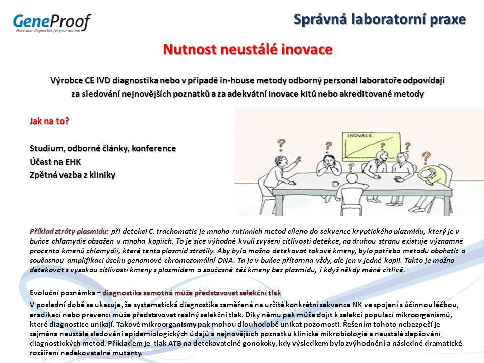 Správná laboratorní praxe Nutnost neustálé inovace Výrobce CE IVD diagnostika nebo v případě in-house metody odborný personál laboratoře odpovídají za
