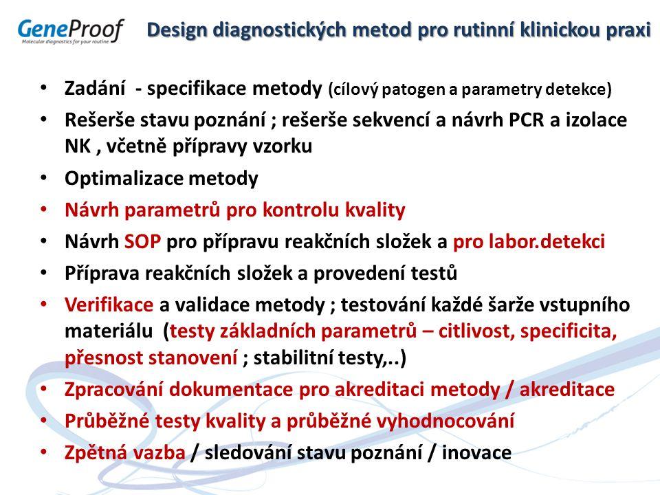 Design diagnostických metod pro rutinní klinickou praxi Zadání - specifikace metody (cílový patogen a parametry detekce) Rešerše stavu poznání ; rešer