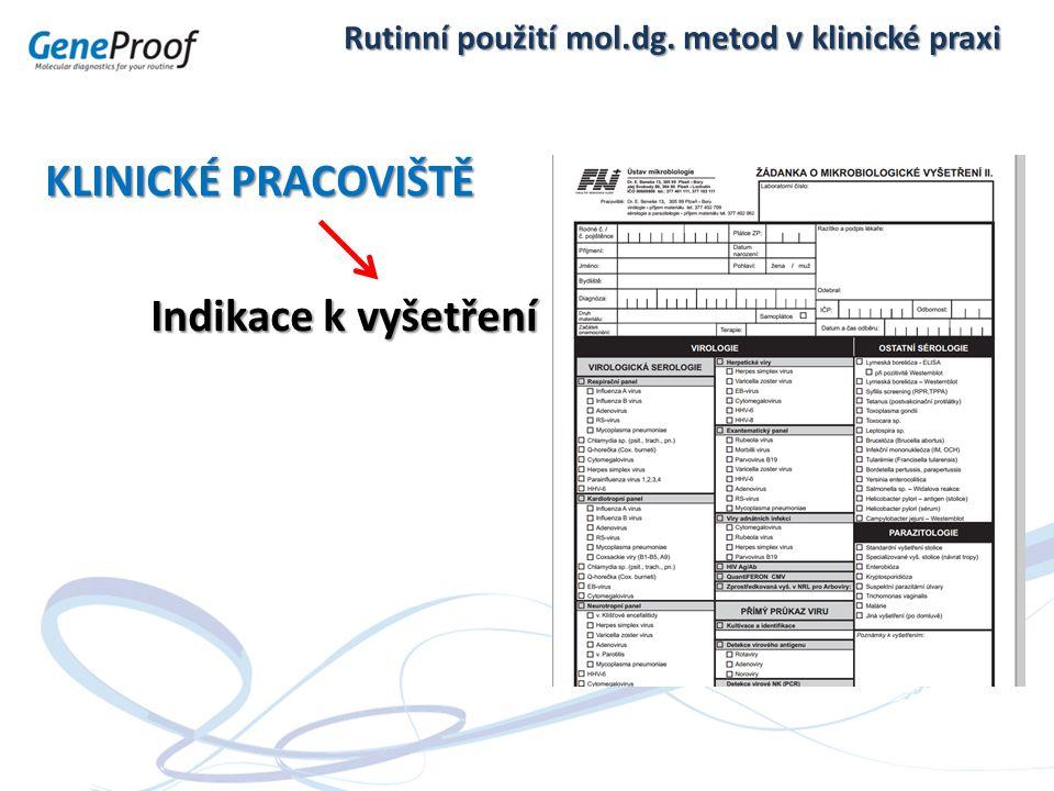 Rutinní použití mol.dg. metod v klinické praxi KLINICKÉ PRACOVIŠTĚ Indikace k vyšetření