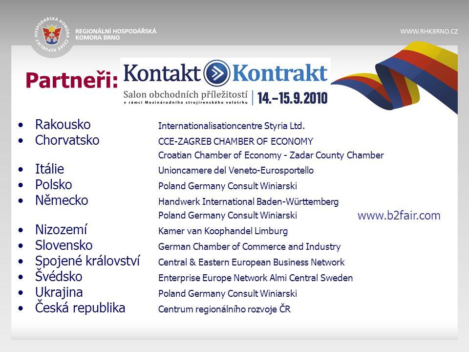 Partneři: Rakousko Internationalisationcentre Styria Ltd. Chorvatsko CCE-ZAGREB CHAMBER OF ECONOMY Croatian Chamber of Economy - Zadar County Chamber