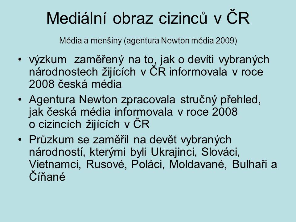 Mediální obraz cizinců v ČR Média a menšiny (agentura Newton média 2009) výzkum zaměřený na to, jak o devíti vybraných národnostech žijících v ČR informovala v roce 2008 česká média Agentura Newton zpracovala stručný přehled, jak česká média informovala v roce 2008 o cizincích žijících v ČR Průzkum se zaměřil na devět vybraných národností, kterými byli Ukrajinci, Slováci, Vietnamci, Rusové, Poláci, Moldavané, Bulhaři a Číňané