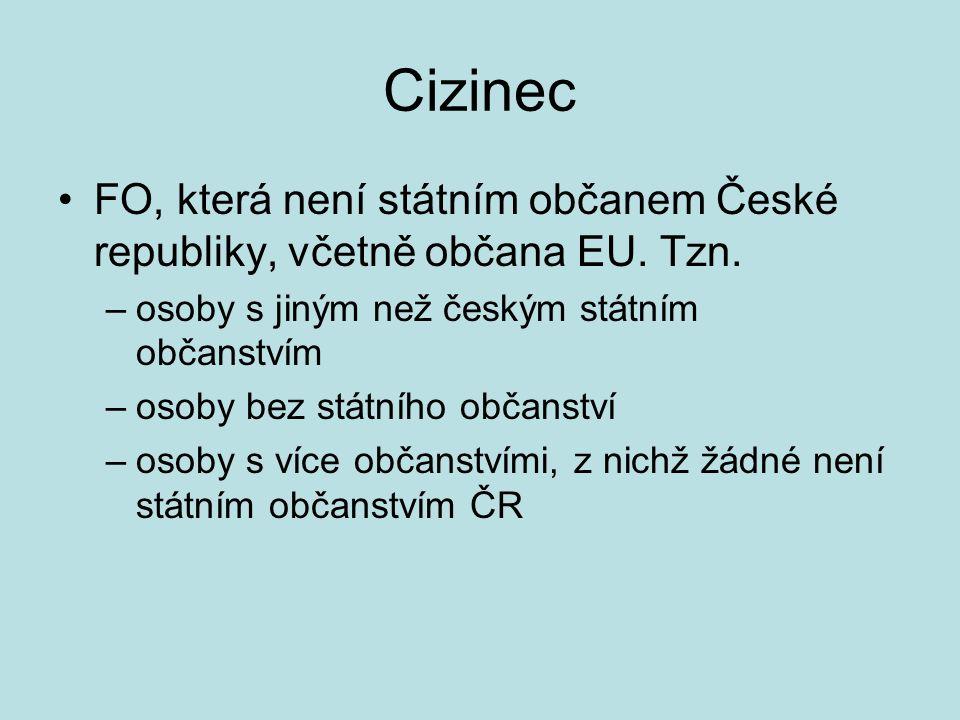 Cizinec FO, která není státním občanem České republiky, včetně občana EU. Tzn. –osoby s jiným než českým státním občanstvím –osoby bez státního občans