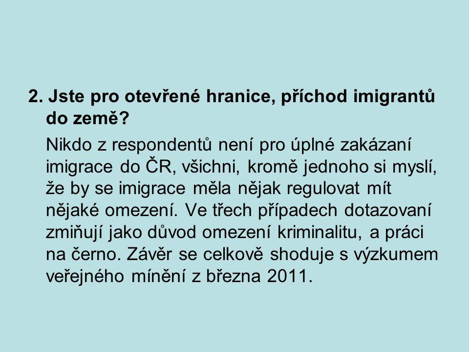 2. Jste pro otevřené hranice, příchod imigrantů do země? Nikdo z respondentů není pro úplné zakázaní imigrace do ČR, všichni, kromě jednoho si myslí,