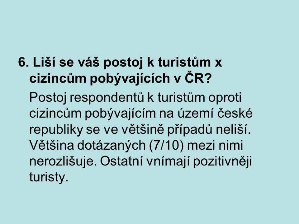 6. Liší se váš postoj k turistům x cizincům pobývajících v ČR.