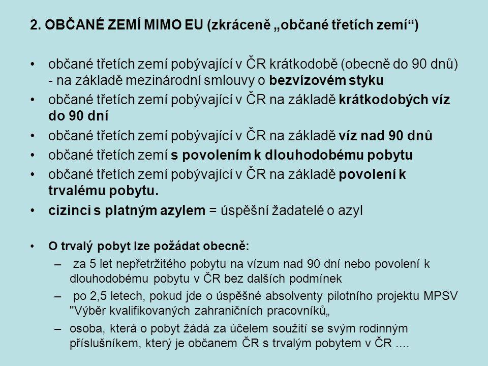 """2. OBČANÉ ZEMÍ MIMO EU (zkráceně """"občané třetích zemí"""") občané třetích zemí pobývající v ČR krátkodobě (obecně do 90 dnů) - na základě mezinárodní sml"""