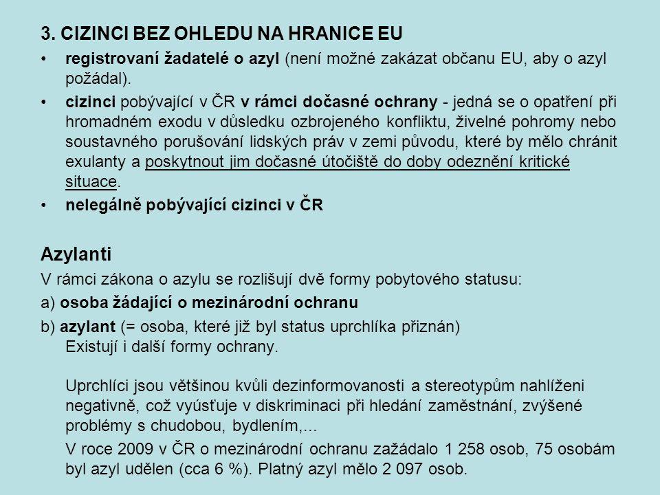 3. CIZINCI BEZ OHLEDU NA HRANICE EU registrovaní žadatelé o azyl (není možné zakázat občanu EU, aby o azyl požádal). cizinci pobývající v ČR v rámci d