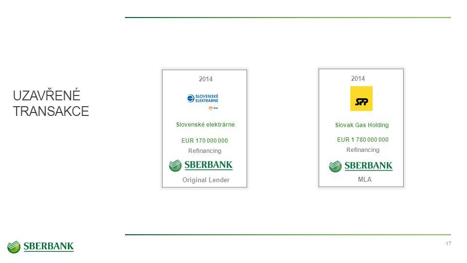 UZAVŘENÉ TRANSAKCE 17 Slovenské elektrárne 2014 EUR 170 000 000 Refinancing Original Lender Slovak Gas Holding EUR 1 780 000 000 Refinancing MLA 2014