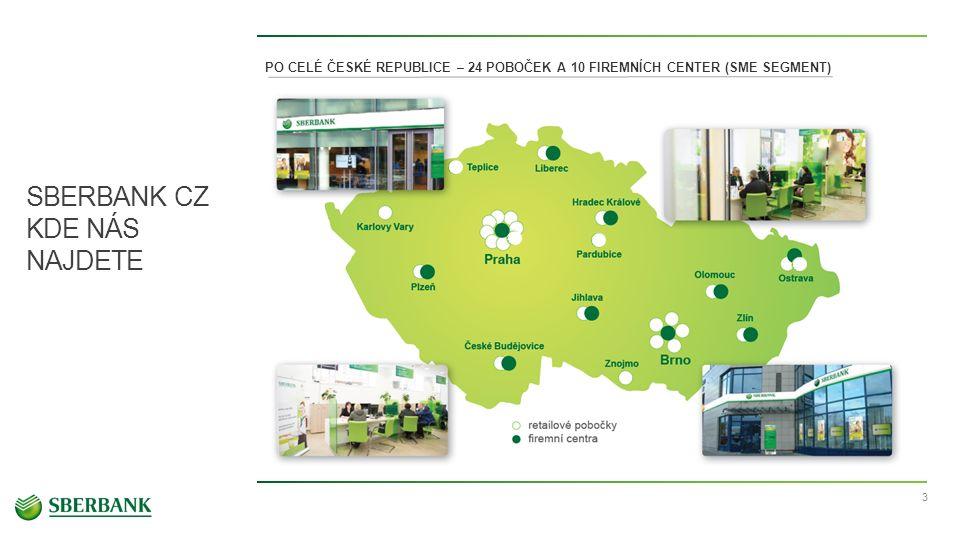 SBERBANK CZ KDE NÁS NAJDETE 3 PO CELÉ ČESKÉ REPUBLICE – 24 POBOČEK A 10 FIREMNÍCH CENTER (SME SEGMENT)