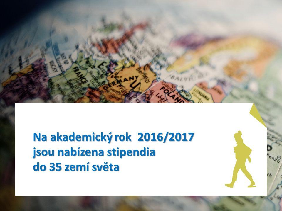 Na akademický rok 2016/2017 jsou nabízena stipendia do 35 zemí světa