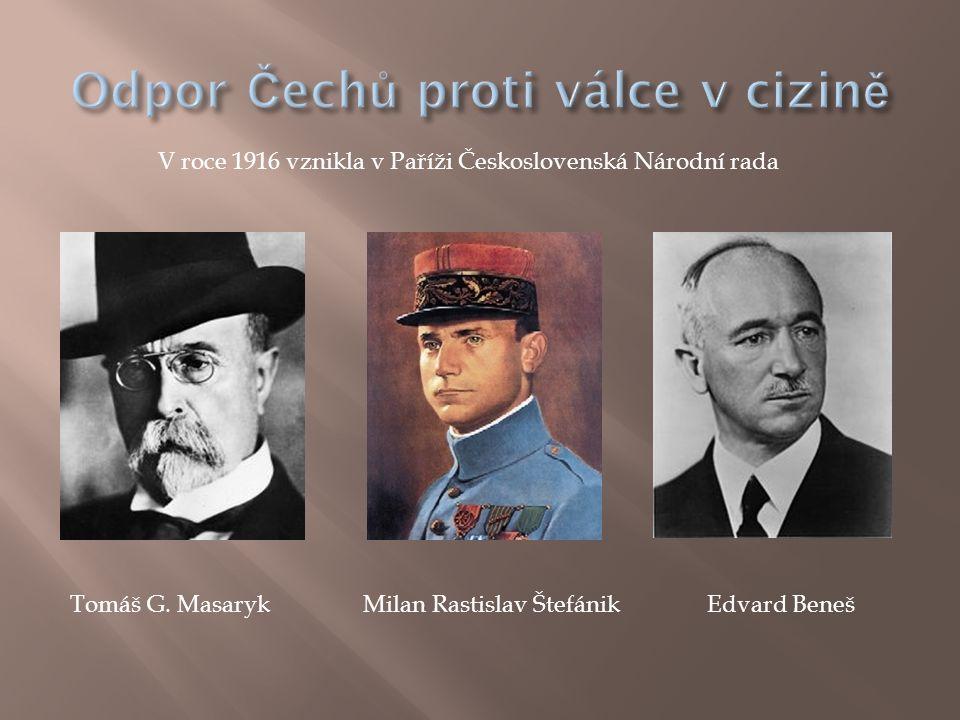V roce 1916 vznikla v Paříži Československá Národní rada Tomáš G. MasarykMilan Rastislav ŠtefánikEdvard Beneš
