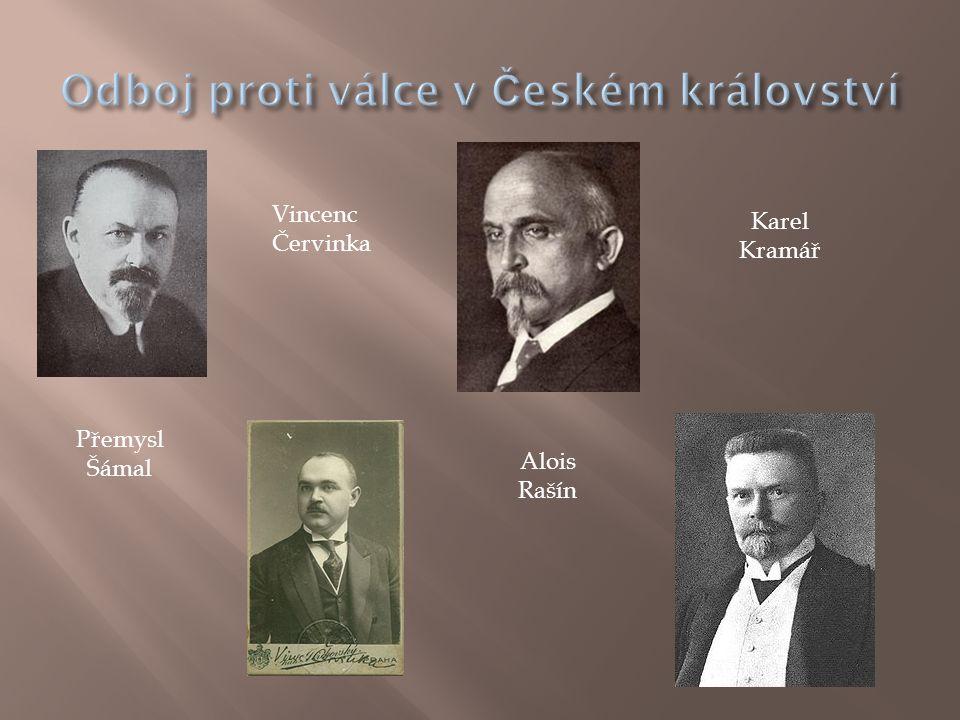Přemysl Šámal Vincenc Červinka Alois Rašín Karel Kramář