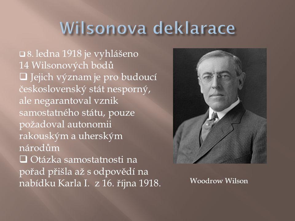 8. ledna 1918 je vyhlášeno 14 Wilsonových bodů  Jejich význam je pro budoucí československý stát nesporný, ale negarantoval vznik samostatného stát