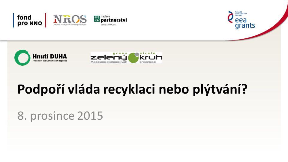 Návrh EK k balíčku CEP Skládková směrnice: zákaz skládkování vytříděných surovin členské státy musí zajistit, že do roku 2030 bude skládkováno max 10 % KO (5 let výjimka pro Rumunsko, Estonsko, Řecko, Slovensko, Maltu, Chorvatsko a Lotyšsko) Podpořeno grantem z Islandu, Lichtenštejnska a Norska v rámci EHP fondů.
