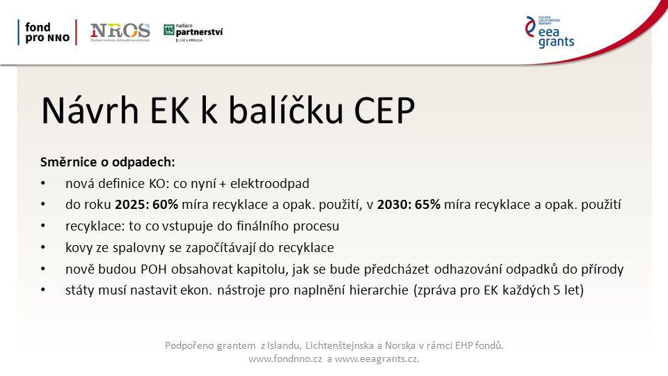 Potřebné změny českých pravidel nakládání s odpady Zákaz skládkování recyklovatelných a neupravených (nikoliv spalitelných) odpadů POH ČR a krajů – recyklace KO 60 % od 2025 a 65 % od 2030 OPŽP ČR 2014-20 – zrušit rezervu na drahé spalovny, které recyklaci naopak brání Vyšší poplatek za skládkování Recyklační sleva pro vzorně třídící obce Podpořeno grantem z Islandu, Lichtenštejnska a Norska v rámci EHP fondů.