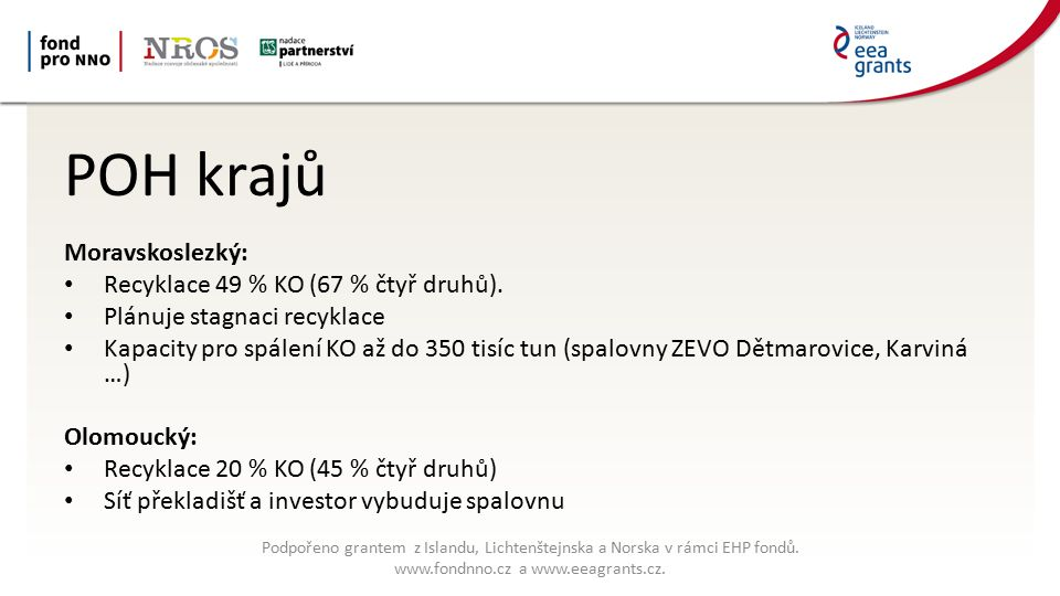 POH krajů Jihomoravský: Recyklace 37 % KO (105 % čtyř druhů) Plánuje stagnaci recyklace Plánuje třetí kotel pro brněnskou spalovnu Zlínský: Recyklace 21 % KO (62 % čtyř druhů) Síť překladišť a malých spaloven ZEVO Podpořeno grantem z Islandu, Lichtenštejnska a Norska v rámci EHP fondů.