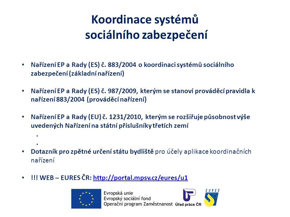 Koordinace systémů sociálního zabezpečení Nařízení EP a Rady (ES) č. 883/2004 o koordinaci systémů sociálního zabezpečení (základní nařízení) Nařízení