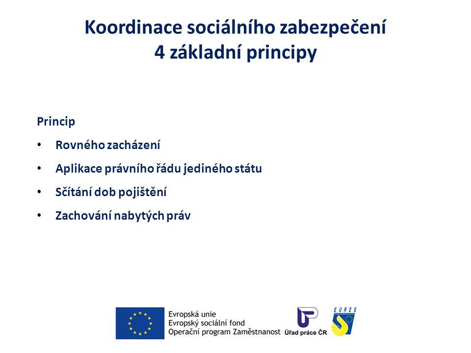 Koordinace sociálního zabezpečení 4 základní principy Princip Rovného zacházení Aplikace právního řádu jediného státu Sčítání dob pojištění Zachování