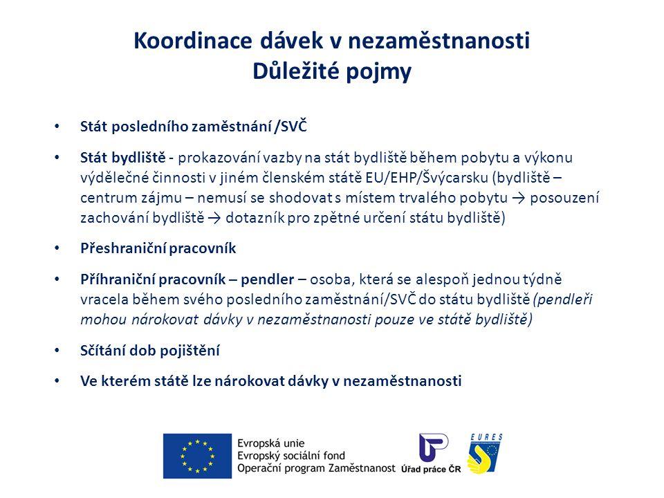 Koordinace dávek v nezaměstnanosti Důležité pojmy Stát posledního zaměstnání /SVČ Stát bydliště - prokazování vazby na stát bydliště během pobytu a výkonu výdělečné činnosti v jiném členském státě EU/EHP/Švýcarsku (bydliště – centrum zájmu – nemusí se shodovat s místem trvalého pobytu → posouzení zachování bydliště → dotazník pro zpětné určení státu bydliště) Přeshraniční pracovník Příhraniční pracovník – pendler – osoba, která se alespoň jednou týdně vracela během svého posledního zaměstnání/SVČ do státu bydliště (pendleři mohou nárokovat dávky v nezaměstnanosti pouze ve státě bydliště) Sčítání dob pojištění Ve kterém státě lze nárokovat dávky v nezaměstnanosti