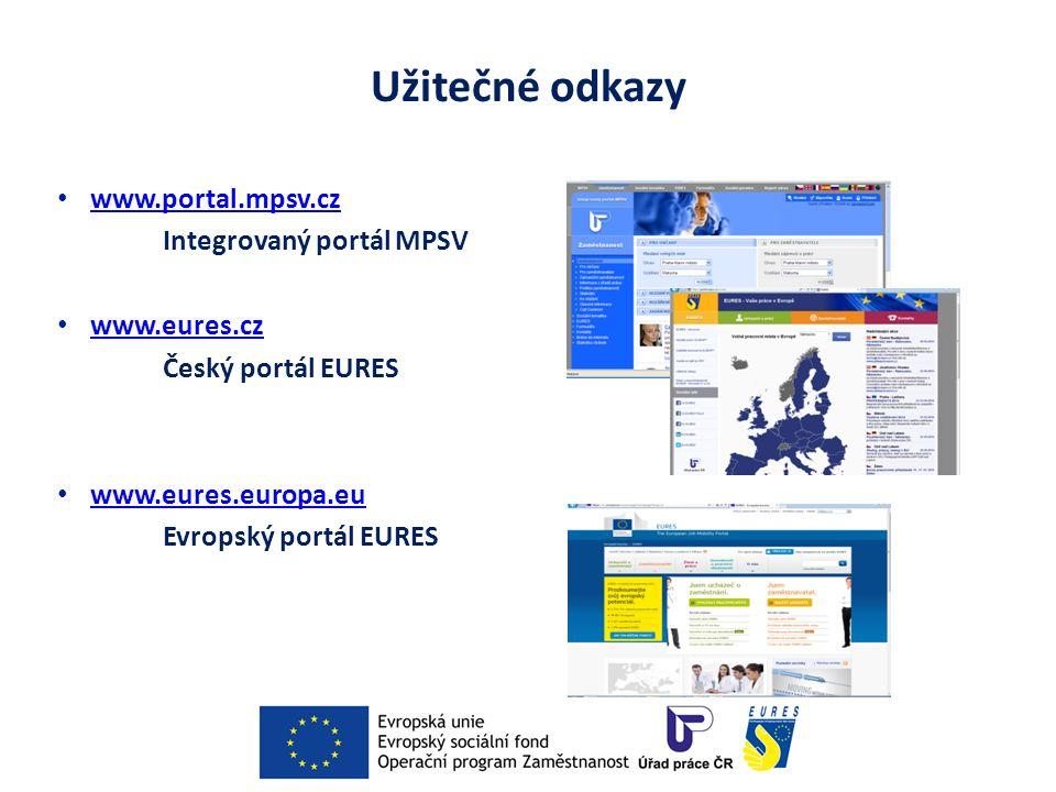Užitečné odkazy www.portal.mpsv.cz Integrovaný portál MPSV www.eures.cz Český portál EURES www.eures.europa.eu Evropský portál EURES