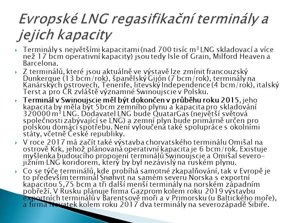  Terminály s největšími kapacitami (nad 700 tisíc m 3 LNG skladovací a více než 17 bcm operativní kapacity) jsou tedy Isle of Grain, Milford Heaven a Barcelona.