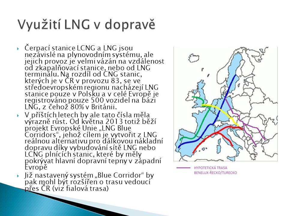  Čerpací stanice LCNG a LNG jsou nezávislé na plynovodním systému, ale jejich provoz je velmi vázán na vzdálenost od zkapalňovací stanice, nebo od LNG terminálu.