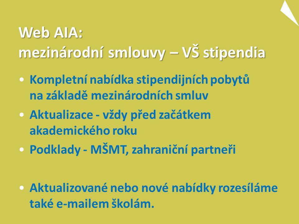 Web AIA: mezinárodní smlouvy – VŠ stipendia Kompletní nabídka stipendijních pobytů na základě mezinárodních smluv Aktualizace - vždy před začátkem akademického roku Podklady - MŠMT, zahraniční partneři Aktualizované nebo nové nabídky rozesíláme také e-mailem školám.