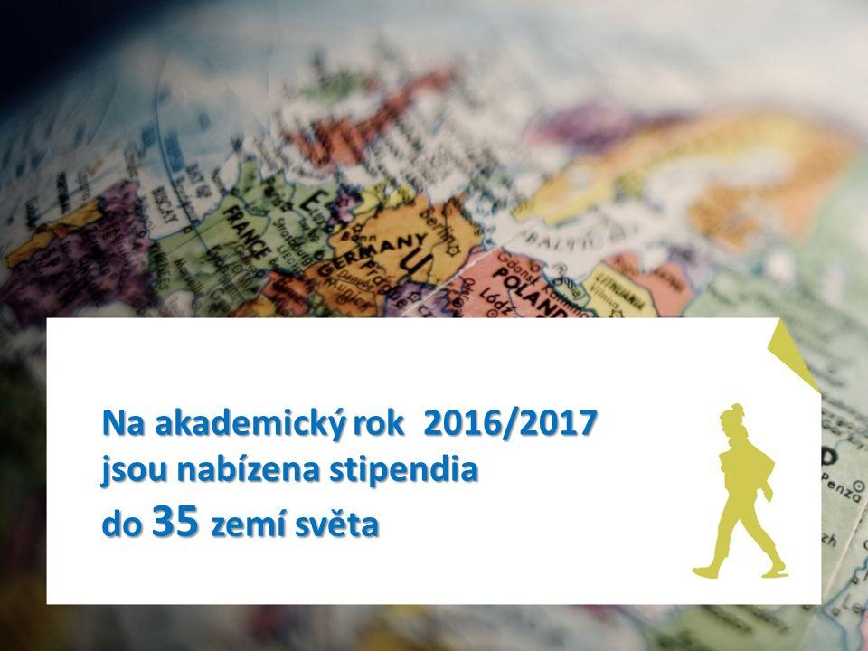 Stipendia na akademický rok 2016/2017 – mimo Evropu a v Evropě Albánie Egypt IzraelLotyšskoMongolskoRumunskoŠpanělsko Argentina Estonsko Japonsko Maďarsko NěmeckoRuskoŠvédsko Belgie - Francouzské společenství Francie KLDRMakedoniePeruŘecko Švýcarsko Bulharsko Chorvatsko Korejská republika MaltaPolskoSlovenskoUkrajina Čína Itálie LitvaMexikoPortugalskoSlovinskoVietnam