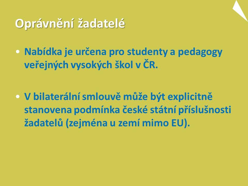 Oprávnění žadatelé Nabídka je určena pro studenty a pedagogy veřejných vysokých škol v ČR.