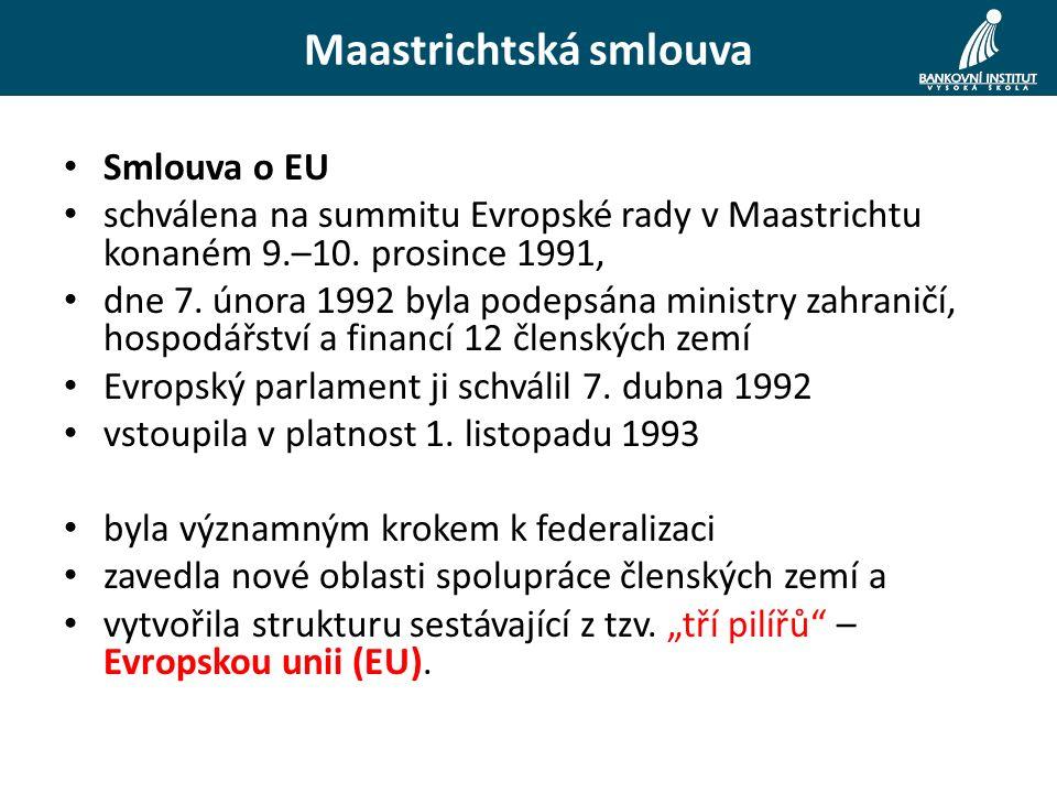 Maastrichtská smlouva Smlouva o EU schválena na summitu Evropské rady v Maastrichtu konaném 9.–10.