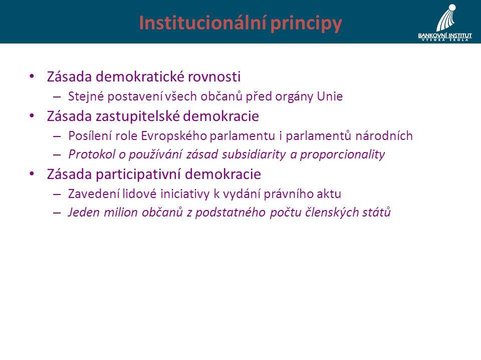 Institucionální principy Zásada demokratické rovnosti – Stejné postavení všech občanů před orgány Unie Zásada zastupitelské demokracie – Posílení role Evropského parlamentu i parlamentů národních – Protokol o používání zásad subsidiarity a proporcionality Zásada participativní demokracie – Zavedení lidové iniciativy k vydání právního aktu – Jeden milion občanů z podstatného počtu členských států