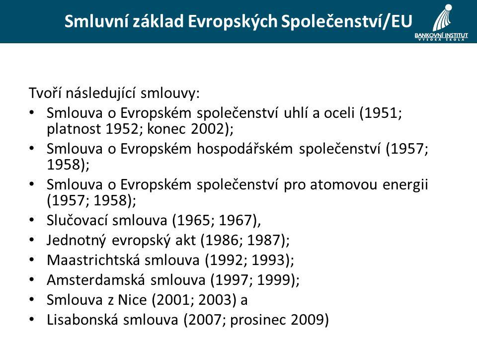 Smluvní základ Evropských Společenství/EU Tvoří následující smlouvy: Smlouva o Evropském společenství uhlí a oceli (1951; platnost 1952; konec 2002); Smlouva o Evropském hospodářském společenství (1957; 1958); Smlouva o Evropském společenství pro atomovou energii (1957; 1958); Slučovací smlouva (1965; 1967), Jednotný evropský akt (1986; 1987); Maastrichtská smlouva (1992; 1993); Amsterdamská smlouva (1997; 1999); Smlouva z Nice (2001; 2003) a Lisabonská smlouva (2007; prosinec 2009)