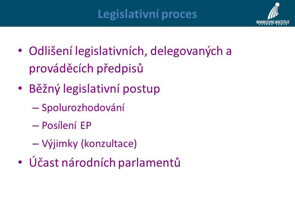 Legislativní proces Odlišení legislativních, delegovaných a prováděcích předpisů Běžný legislativní postup – Spolurozhodování – Posílení EP – Výjimky (konzultace) Účast národních parlamentů