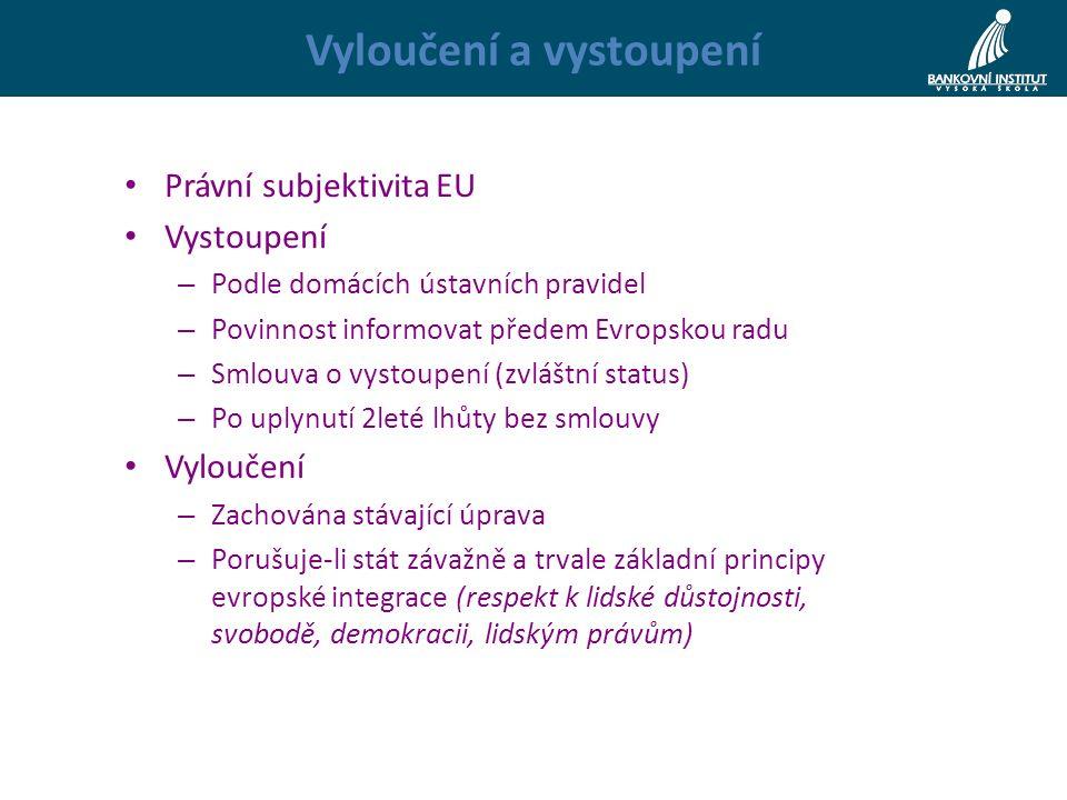 Vyloučení a vystoupení Právní subjektivita EU Vystoupení – Podle domácích ústavních pravidel – Povinnost informovat předem Evropskou radu – Smlouva o vystoupení (zvláštní status) – Po uplynutí 2leté lhůty bez smlouvy Vyloučení – Zachována stávající úprava – Porušuje-li stát závažně a trvale základní principy evropské integrace (respekt k lidské důstojnosti, svobodě, demokracii, lidským právům)