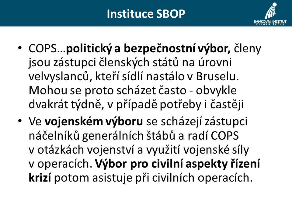 COPS…politický a bezpečnostní výbor, členy jsou zástupci členských států na úrovni velvyslanců, kteří sídlí nastálo v Bruselu.