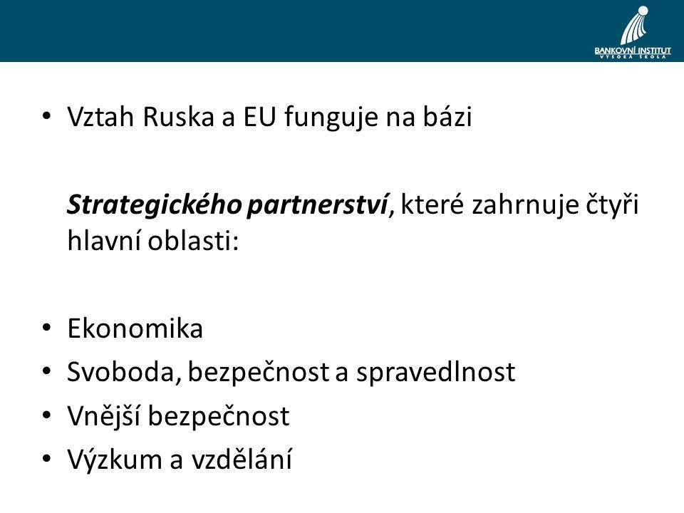 Vztah Ruska a EU funguje na bázi Strategického partnerství, které zahrnuje čtyři hlavní oblasti: Ekonomika Svoboda, bezpečnost a spravedlnost Vnější bezpečnost Výzkum a vzdělání